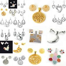 Womens Stainless Steel Charm Necklace Pendants Studs Earrings Party Jewelry Set