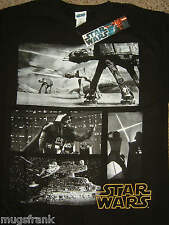 Darth Vader AT AT Battle Scene Grey Battle Star Wars T-Shirt Nwt