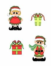Christmas Elves Card Scrapbook Embellishment Cardmaking Piecing