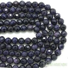 """Natural Blue Sand Gemstone Faceted Round Ball Spacer Beads 6mm 8mm 10mm 12mm 15"""""""