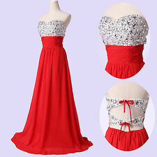 Rhinestone Shinning Backless Beaded Prom gown Ball Evening Party Wedding Dress
