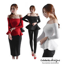 tp95 Celebrity Style Off Shoulder Fit and Flared Ruffled Hem Peplum Jersey Top