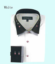 Mens 100% cotton dress shirt double layered collar,Italian Design White/Bk AH605