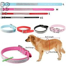 Chic Bling Crystal Puppy Faux Leather Buckle Cat Pet Dog Collar Puppy Neck Strap