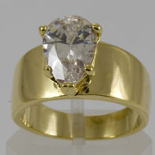 Gold Engagement Pear Shaped CZ Cocktail Ring gp Various Sizes Available