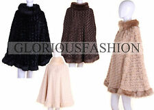WOMENS LADIES FAUX FUR TRIM TEXTURED HIGHNECK PONCHO CAPE BROWN BLACK BEIGE