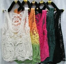 Women's Semi Sheer Sleeveless Embroidery Lace Crochet T-Shirt  Vest Tops Blouse