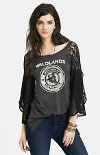 FREE PEOPLE WE THE FREE PIECED LACE SLEEVE ROCK ME GRAPHIC TEE RAVEN COMBO NWT