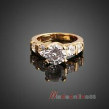 M3AO Attractive 18K Gold Plated Cubic Zircon Ring Finger Ring for Woman