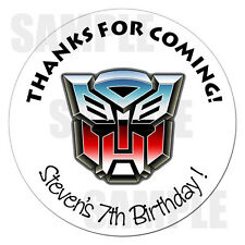 """Transformers Birthday Sticker Gift Favor Party Label 2.5"""""""