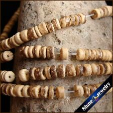 5mm Natural brown  Wooden Coconut Shell Wood Loose Spacer Beads 15.5""