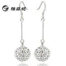 925 Sterling Silver CLEAR Crystal Ball Round Dangle Hook Long Earring 10MM 12MM