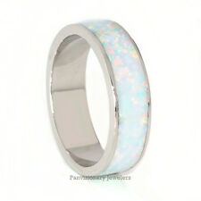Stackable White Fire Opal 925 Sterling Silver Eternity Band Ring 6MM half sizes