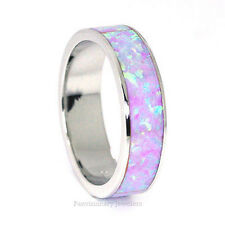 Stackable Light Pink Purple Fire Opal 925 Sterling Silver Eternity Band Ring 6MM