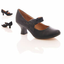NEW WOMENS LADIES NEW STRAP MID HEEL CASUAL SMART WORK PUMP COURT SHOES SIZE 3-8