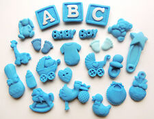 25 Edible Baby Boy Christening Baby Shower Cup Cake Decorations Sugar Toppers