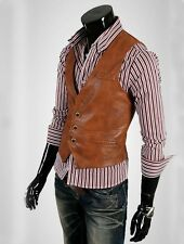 Men's Slim Fit Faux PU Leather Short Vest Casual Waistcoat Top Motorcycle 6376