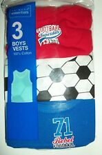 Boys 3 Pack Football detail Vests