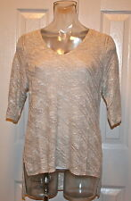 "Eileen Fisher Karma Ripple Stitch V Neck Sweater ""Natural"" S, M, L, NWT"