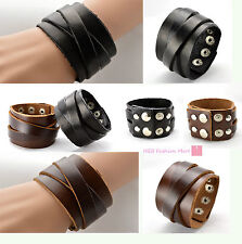 2 Layers Wrap Cool Leather Bracelet Punk Bangle Wristband Rocker Cuff Man/Woman