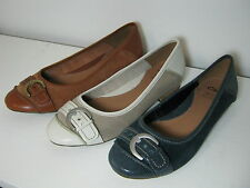 Ladies SALE Clarks Henderson Ice Leather Casual Ballet Pump Style Slip On Shoes