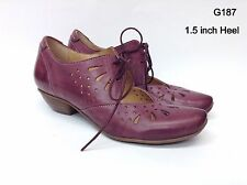 Fidji Plum Lace Up Oxford Cut Out Detail Leather Shoes Crafted in Portugal #G187