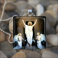 """THE RESURRECTION"" JESUS CHRIST EASTER RELIGIOUS GLASS PENDANT NECKLACE KEYRING"