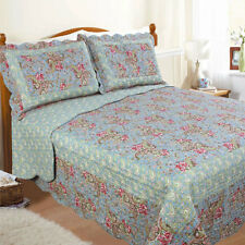 Restmor Paisley Scalloped Quilted Bedspread, Green/Blue