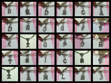 BLK SILVER CRYSTAL ALPHABET CHARM LETTERS A TO Z ~ LOBSTER CLASP ~ BAIL  EARRING