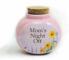 "Ceramic Stash Jar - ""Mom's Night Off"" with Magnetic Back and Cork Stopper"