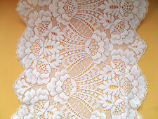 "BEAUTIFUL~WIDE 22cm~8.5""  VINTAGE IVORY STRETCH FRENCH LACE Bride/Tablerunner"