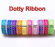 "5/50/100yards 9mm(3/8"") mixed colors dotty grosgrain ribbon lot bow craft U pick"