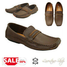Mokassins braun echt Leder Herrenschuhe Party Business Schuhe Slipper Neu B155