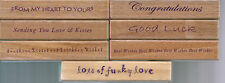 CONGRATULATION - GOOD LUCK - ETC - WHISPERS WORDS WOOD BACK RUBBER STAMPS -