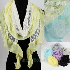 Delicate Cotton Embroidery Floral Tulle Lace Chiffon Ruffle Trim Thin Long Scarf