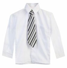 Toddler Boys White Long Sleeve Solid Dress Shirt And Tie Size (2T-4T)(5-7) 8-20