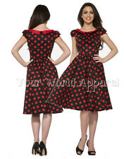 H&R LONDON 9060 BLACK RED POLKA DOTS PINUP SWING 50's DRESS VINTAGE ROCKABILLY