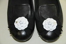 $950 New Chanel Black Leather White Camellia CC Loafers Mocassins Flats Shoes