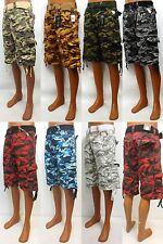 Men's EVOLUTION wheat / black / green / khaki cargo camo shorts style 22056-B