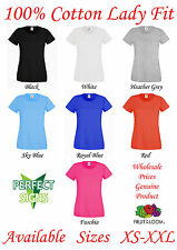 Fruit of the Loom Ladies Plain Lady Premium 100% Cotton T Shirt Female all sizes