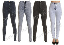 LADIES WOMEN HIGH WAISTED ACID WASH SKINNY JEANS JEGGINGS PANTS 6 8 10 12 14