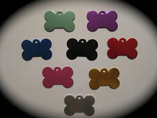 Coloured SMALL Bone Shaped Pet ID Name Tag Cat Dog FREE ENGRAVING & POSTAGE