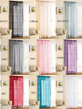 Casablanca Net Voile Curtain Panel Plain Slot Top Sparkle Glitter Effect Cheap
