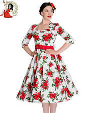 HELL BUNNY 50's ETERNITY FLORAL vintage DRESS WHITE