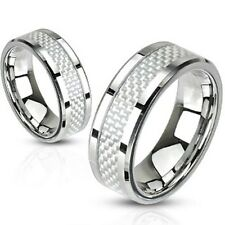 316L Stainless Steel Carbon Fiber Inlay Men's or Women's Band Ring, Sizes 5-14