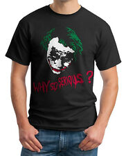 The Joker why so serious? t-shirt Heath Ledger 3 colour flock on Mens and Ladies