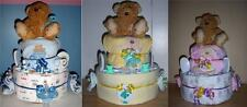 Baby Shower 2 Tier Bear Diaper Cake, Pink, Blue, or Neutral
