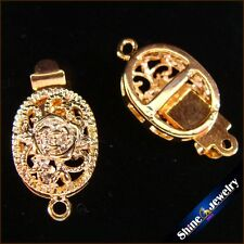 Wholesale 5/ 10 / 20 pcs Gold Plated Filigree Flower Box Clasps 10x19mm FINDINGS