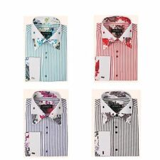 New Fashion Men's Dress Shirt Striped with Floral Design on Collar&Sleeves S620