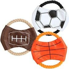Rope Frisbee Dog Toy Chew Throw Fetch Play Shaped Like Sports Balls Canvas Rope